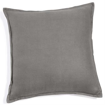 Coussin en lin lavé gris 60x60