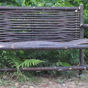 Banc Cluny en bois de châtaignier tressé 2 places - 120 cm