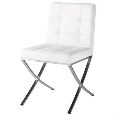 Chaise en polyuréthane et inox blanche Kyoto