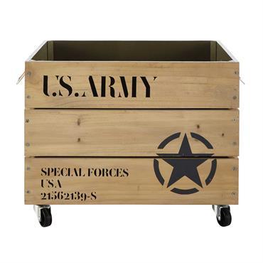 Caisse à roulettes en bois 35 x 52 cm ARMY