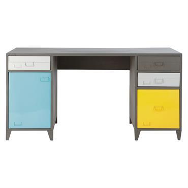 Jouez le design industriel pour le bureau de votre ado ! Ce bureau indus 1 porte 4 tiroirs en métal gris ESPACE lui offrira une belle surface de travail pour ...