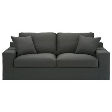 Canapé 3 places en coton gris ardoise Stuart