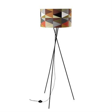 Lampadaire trépied en métal et coton multicolore H 156 cm COLORADO