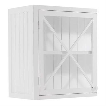 Complétez vos rangements en cuisine avec cet élément mural blanc en bois de sapin et panneaux de fibres de moyenne densité. Doté d'une porte pleine façon lambris et d'une étagère ...