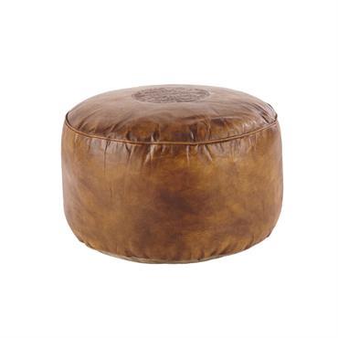 Pouf en cuir de chèvre marron