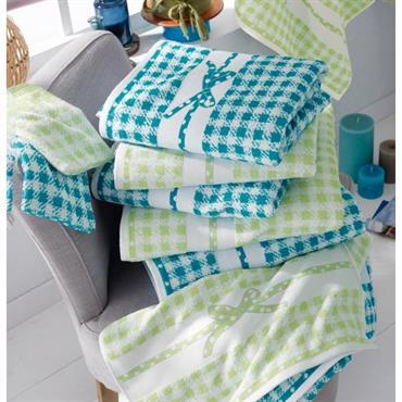 Une inviation à la détente Eponge 100% coton, 400 g/m² Lavable à 60° Tissage jacquard motif vichy, finition liteau jacquard motif ruban
