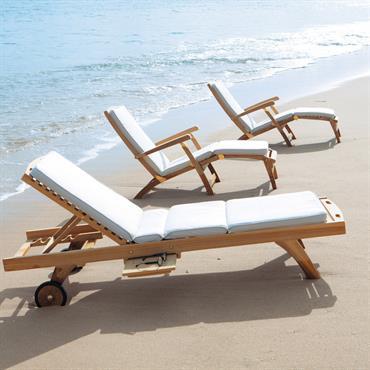 Chaise longue en teck massif L 170 cm Oléron