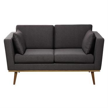 Canapé 2 places en tissu gris Timeo