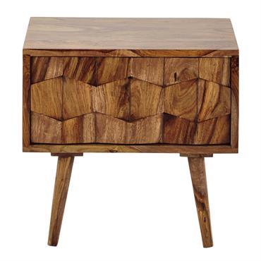 Table de chevet avec tiroir en bois de sheesham massif L 45