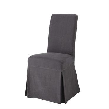 Housse longue de chaise en lin lavé anthracite Margaux