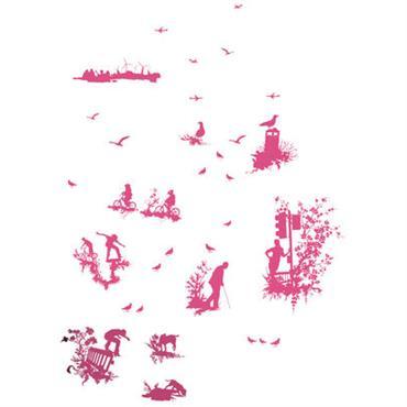 Sticker Silhouette Toile - Domestic rose en matière plastique