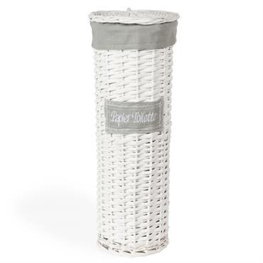 Panier tressé à papier toilette blanc H 47 cm