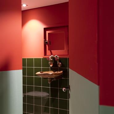 Toilettes originales avec mur rouge et faïence vert forêt
