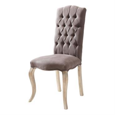 Chaise capitonnée en lin marron et frêne grise Chloé