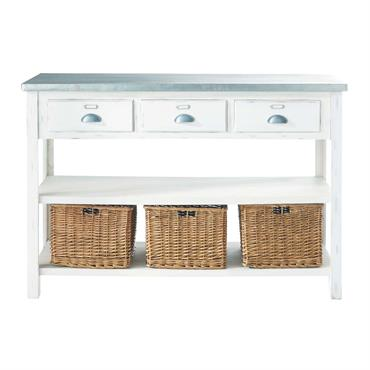Table console blanche 3 paniers Sorgues