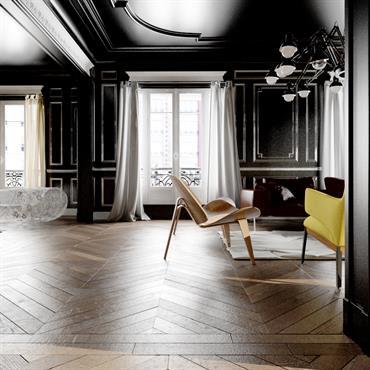 Murs et plafond peints en noir dans ce salon pour un contraste intéressant