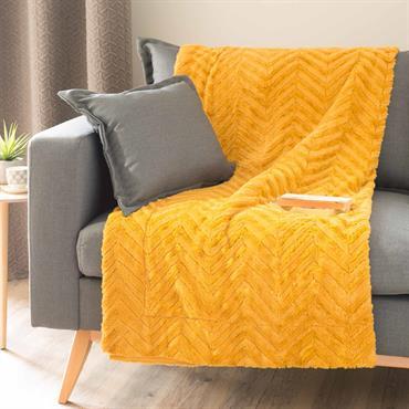 Plaid imitation fourrure jaune moutarde 130x170