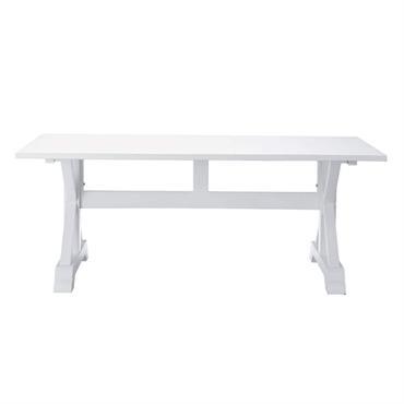 Table de salle à manger en bois blanche L 200 cm Atlantique