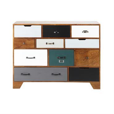 Avec ses 10 tiroirs de différentes couleurs, ce cabinet en bois de manguier massif vous propose de nombreux rangements. Avec ses belles nuances de bois, ce cabinet apportera une note ...