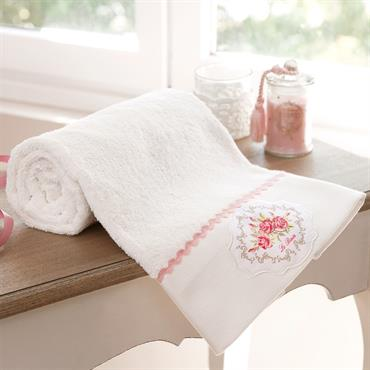 Serviette de bain en coton blanche 70 x 140 cm CAMÉLIA
