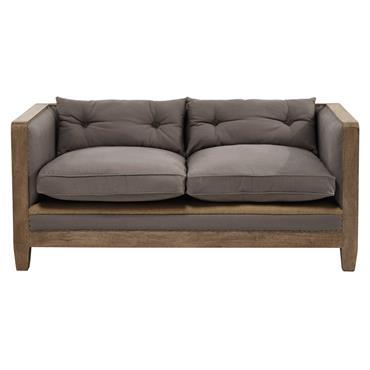Canapé 2 places en coton gris Merimee