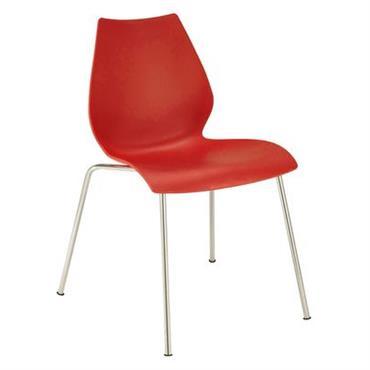 Chaise empilable Maui / Plastique & pieds métal - Kartell rouge