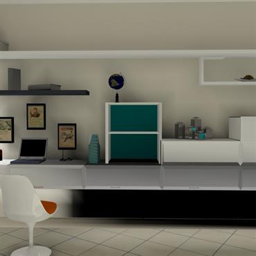 Composition murale avec bureau intégré. Orange blanc bleu. Epuré et asymétrique