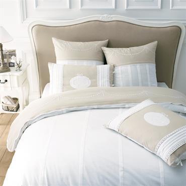 Tête de lit en bois massif et coton L 140 cm Joséphine