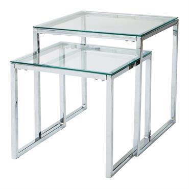 Table basse gigognes en verre et métal L 40 cm
