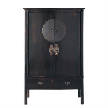 Armoire 2 portes 2 tiroirs noire Shanghaï