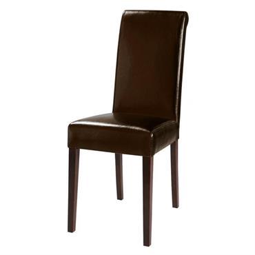 Chaise en polyuréthane et châtaignier marron Boston