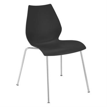 Chaise empilable Maui / Plastique & pieds métal - Kartell anthracite
