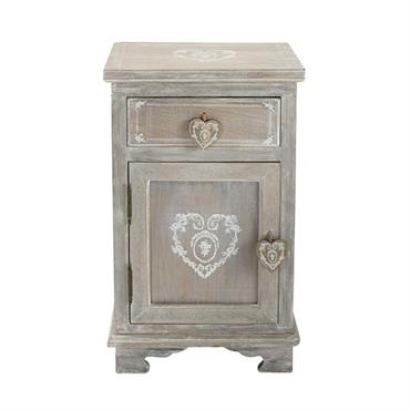 Table de chevet avec tiroir en paulownia grisée Camille