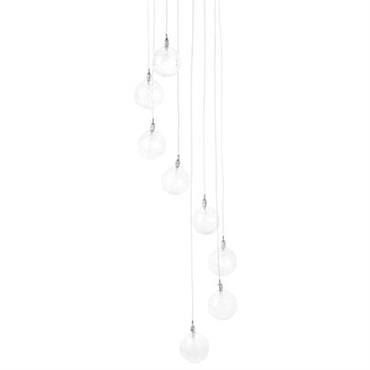 Suspension Push LED / 8 modules - Frandsen transparent en verre