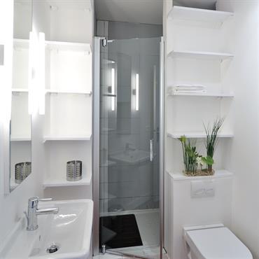 Petite salle d'eau optimisée avec toilettes. 1,57cm de large sur 2,2m de long. La douche s'inscrit entre deux colonnes technique et le mur des toilettes. les rangements sont intégrés au ...