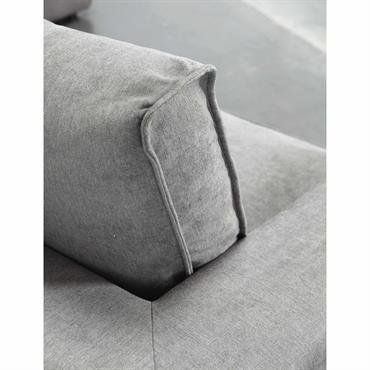 Accoudoir droit de canapé en tissu taupe grisé Malo