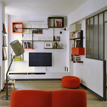 Salon, espace télé et bibliothèque