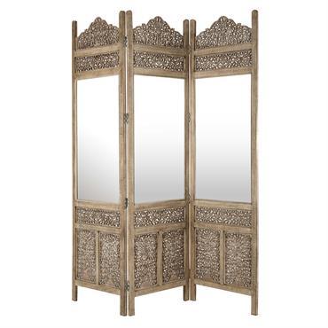 Paravent miroir en bois sculpté L 153 cm SURABAYA