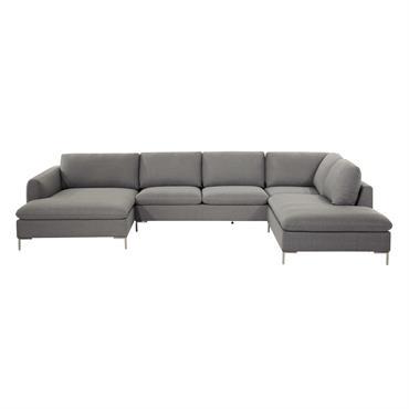 D'un joli gris, ce canapé d'angle 7 places CITY créera une ambiance conviviale et relaxante dans votre salon. Dotée d'une grande méridienne, ce canapé d'angle en tissu vous fera partager ...