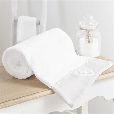 Drap de bain en coton blanc 70x140 HEART