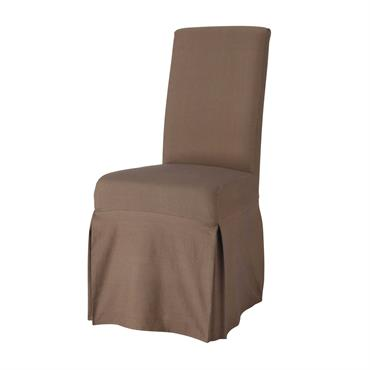 Housse longue de chaise en coton taupe Margaux