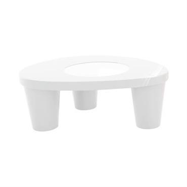 Table basse Low Lita / Version laquée - Slide blanc laqué en verre