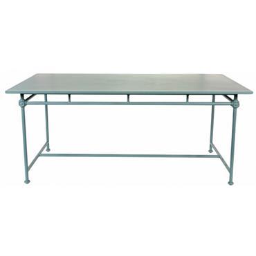 Table en aluminium gris-bleu