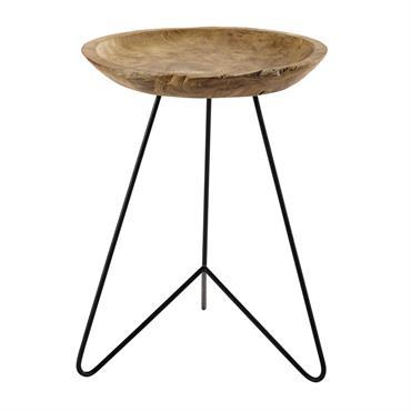 Bout de canapé en métal et bois L 39 cm KOTA