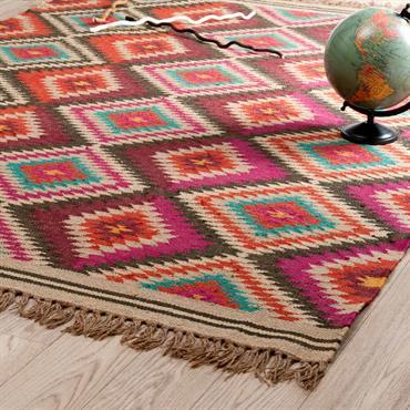 Tapis tressé en laine multicolore 140 x 200 cm ACAPULCO