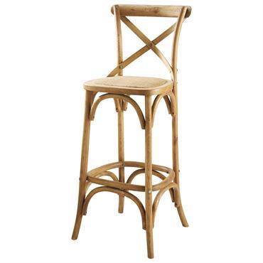 Chaise de bar en rotin et chêne Tradition
