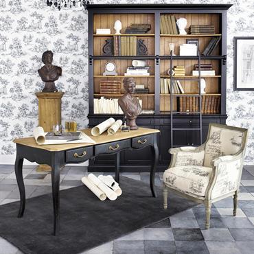 Bibliothèque avec échelle en pin massif noir Versailles
