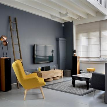 Cette grande pièce a été structurée par la couleur (gris anthracite), les vitres d'atelier et les ambiances. La touche de jaune donne du peps à l'ensemble et réchauffe le carrelage ...