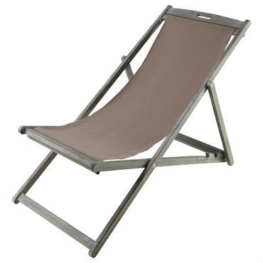 Chaise longue / chilienne pliante en acacia grisée L 111 cm Panama