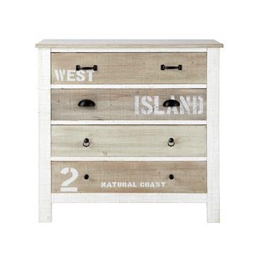 Commode en bois blanche L 90 cm Noirmoutier